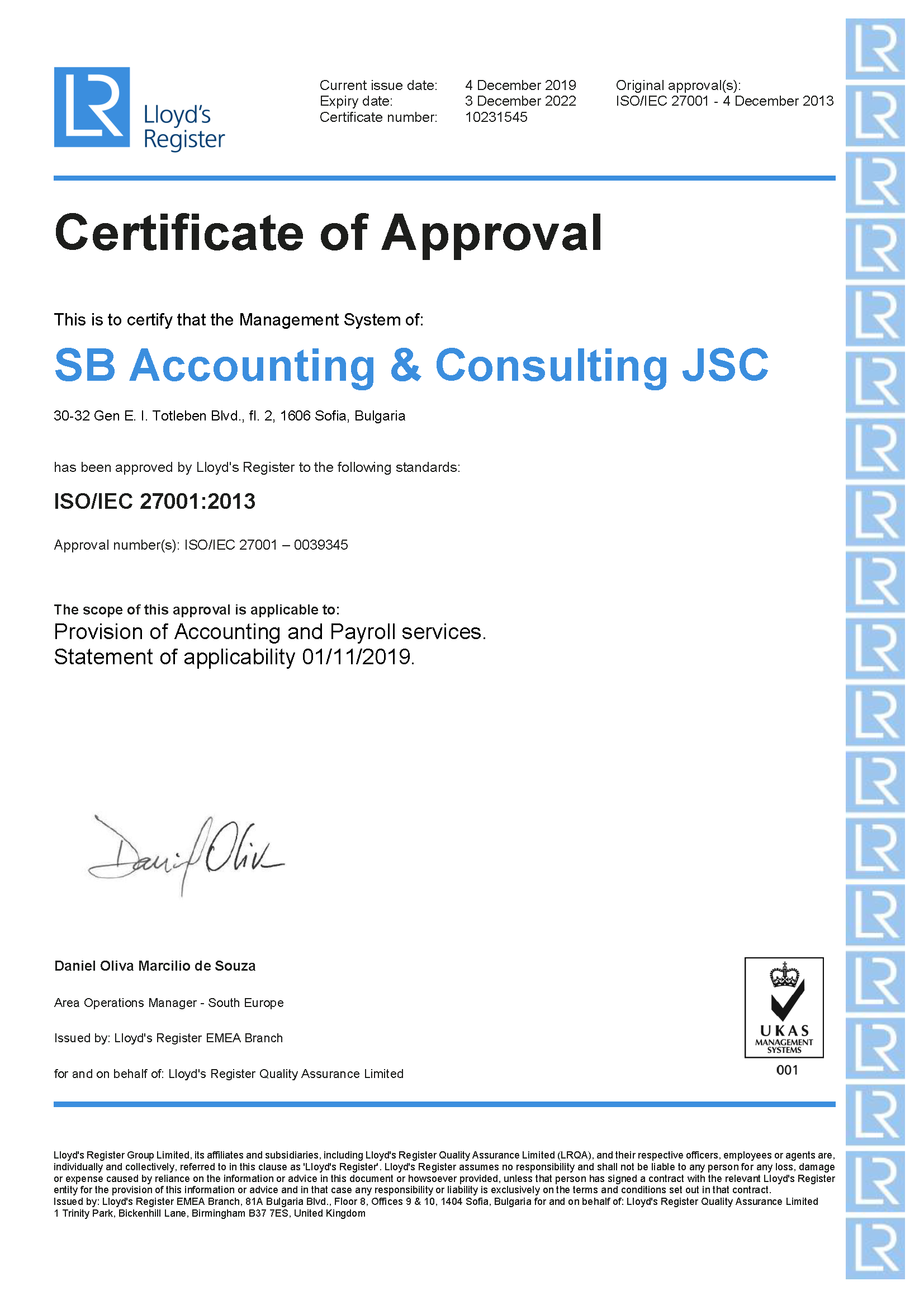 Sb Certificate of Approval